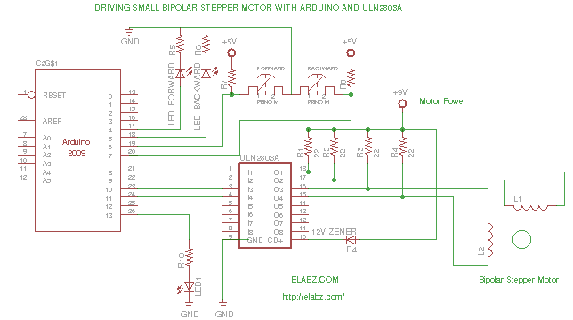 Driving a bipolar stepper motor with arduino and uln2803ag for Bipolar stepper motor driver circuit
