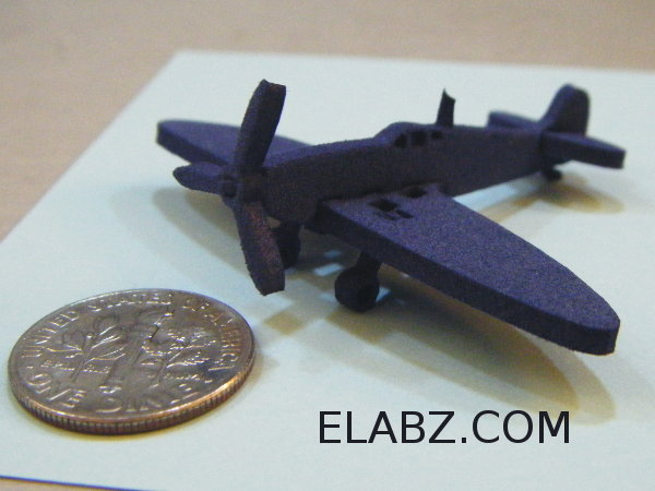 Postal stamp sized model of Supermarine Spitfire MKII