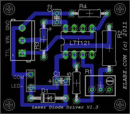 Elabz.com Laser Diode Driver based on LT1121. Board.