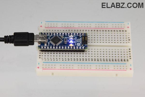 Arduino Nano in a breadboard.