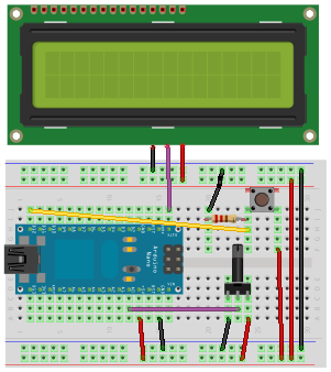 ELABZ.COM demo for GLO-416Y Serial OLED - a Fritzing diagram