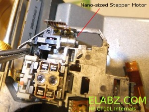 There is a tiny bipolar stepper motor inside the HP CT10L sled