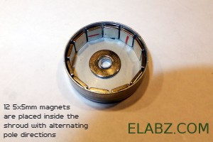 12 5x5mm magnets take almost all of the circumference of the 22mm diameter shroud