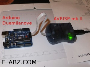 Atmel AVRISP mk II programmer is getting ready to burn some Arduino bootloader code