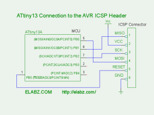 Connect ATtiny13 to the programmer as shown on this diagram