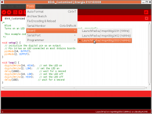 Energia provides a familiar Arduino interface (albeit in a strange red color scheme)